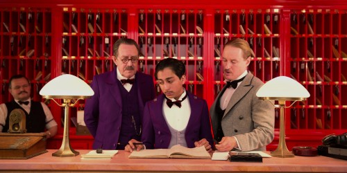 "This image released by Fox Searchlight shows Tom Wilkinson, Tony Revolori, center, and Owen Wilson, right, in ""The Grand Budapest Hotel ."" (AP Photo/Fox Searchlight)"
