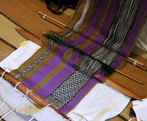 wool panel with supplementary warp patterns backstrap weaving