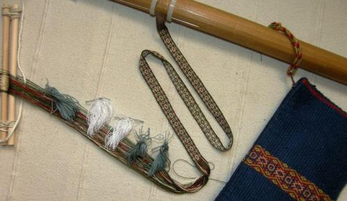silk lanyard with multiple heddles