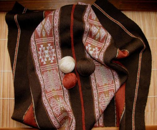 brown wool panelsl backstrap weaving