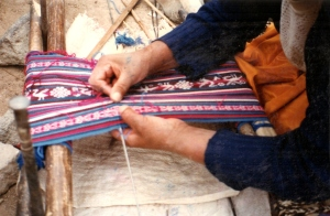Hilda showing me how to finish a four-selvedge piece.