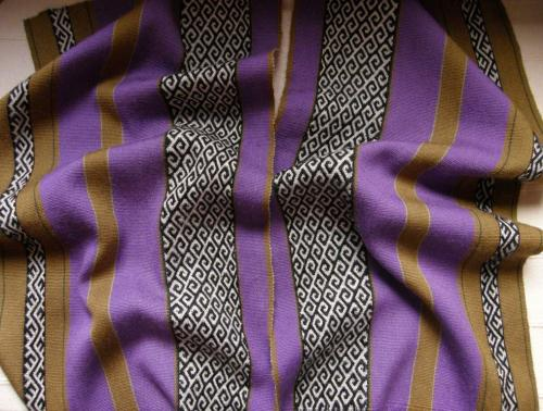 two purple wool panels backstrap weaving