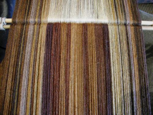 natural dyed silk in browns and golds backstrap weaving