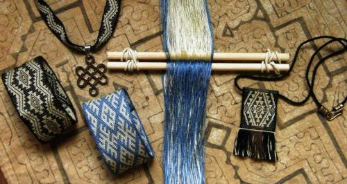 blue silk pendant backstrap weaving