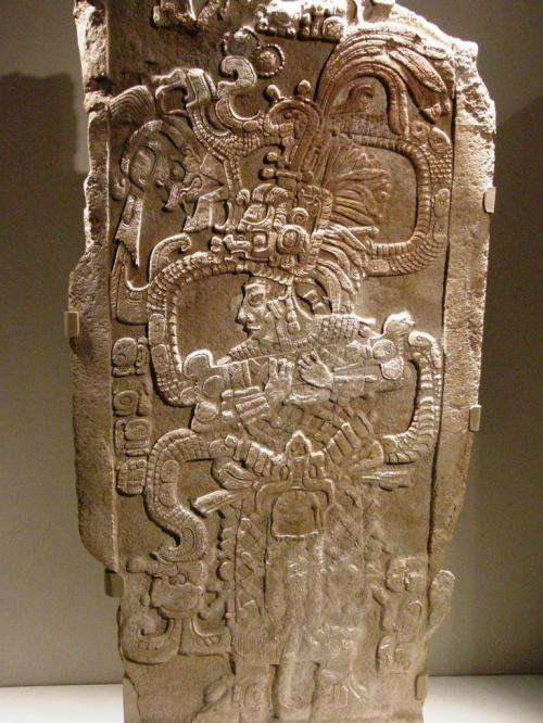Limetone monument, or steal from the southern Mayan lowlands A.D 761 shows a Mayan queen proclaiming her legitimacy and power