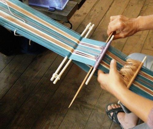 Cynthia's backstrap weaving warp